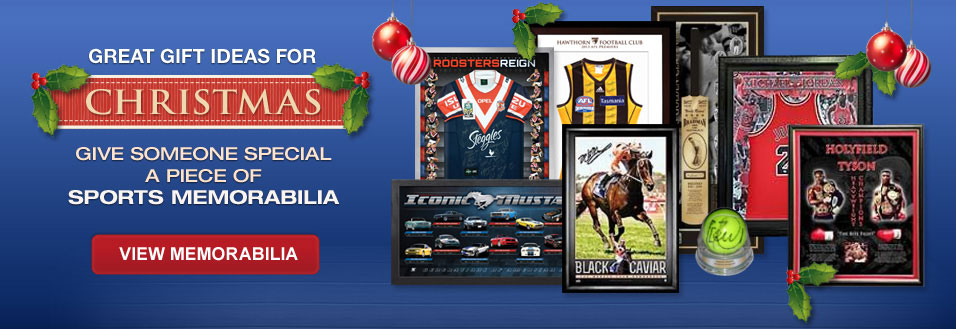 Great gift ideas for Christmas. Give someone special a piece of sports memorabilia. View memorabilia.