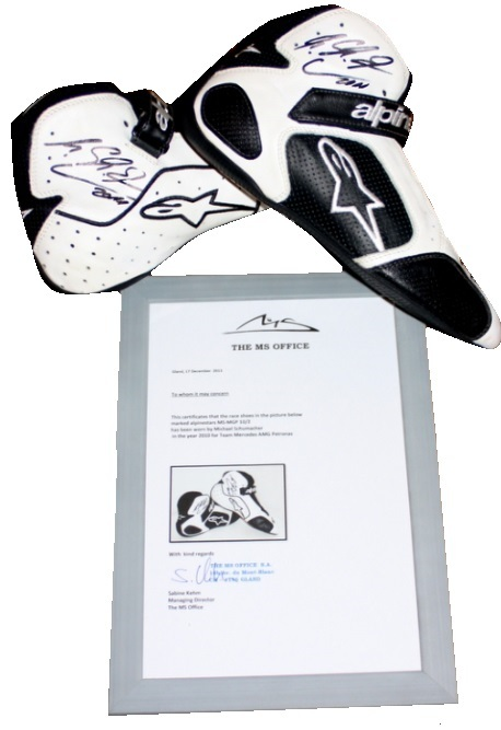Michael Schumacher Race Worn, Signed Alpinestar Boots, 2010 F1 Season