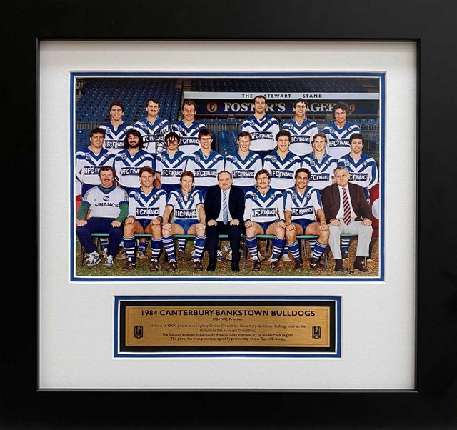 Canterbury Bulldogs 1984 Premiers, Personally Signed by Darryl Brohman, Framed