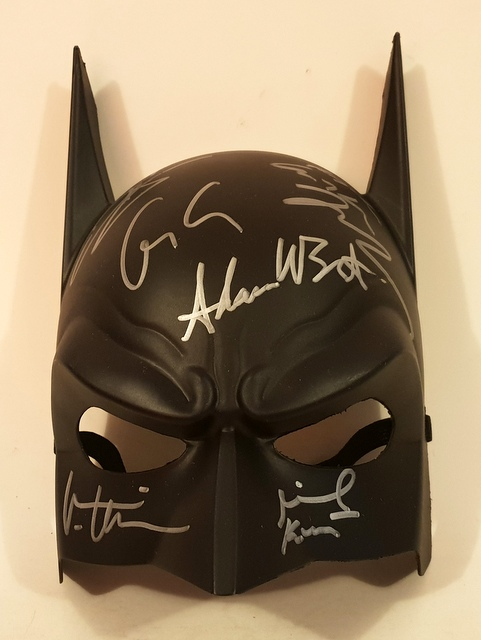 Batman Multi Signed Mask - Hand Signed by 6 Batmen!