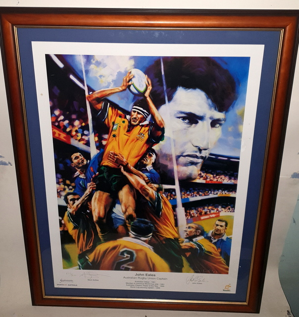 John Eales Wallabies Legend Personally Signed Lithograph, Framed