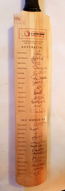 Australia and World XI Team-Signed Bat, Personally Signed by 26