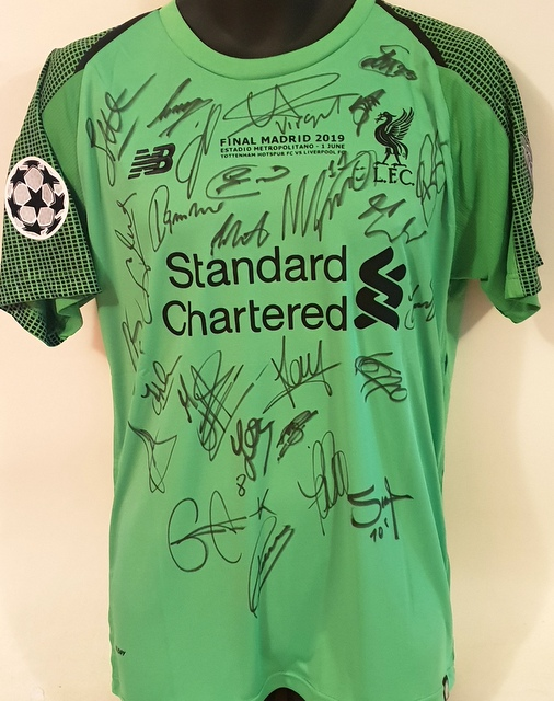 Liverpool 2019 Champions League Team Signed Victory Jersey - Goalkeeper's Edition