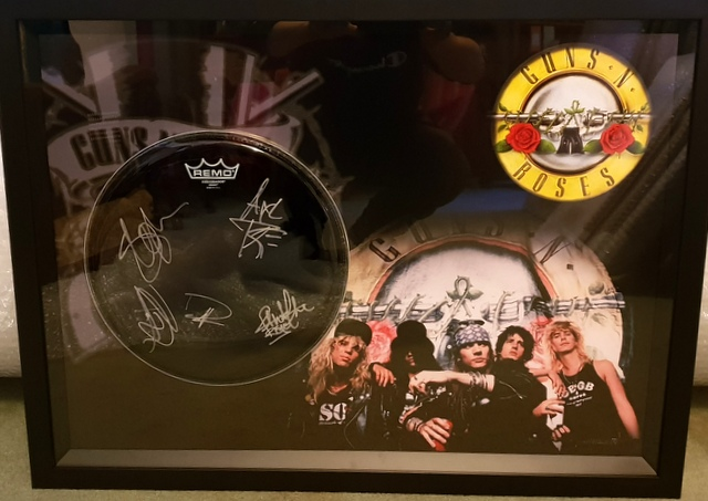 Guns N Roses Band Signed Drum Head, Framed - Axl Rose, Slash, McKagan