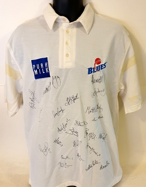 NSW Sheffield Shield 2002-2003 Squad Signed Shirt - Waughs, McGrath, Clarke, Lee, Slater