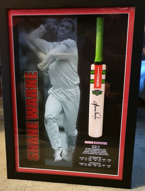 "Shane Warne Personally Signed ""Ball of the Century"" Mini Bat Display, Framed"