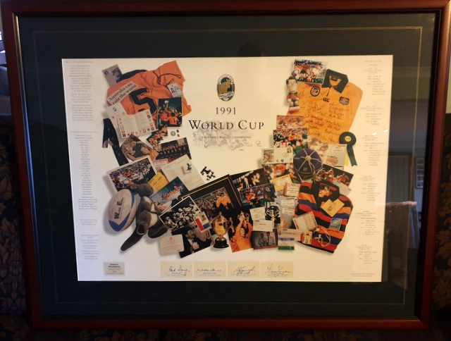 Australian Wallabies 1991 RWC Champions Celebration Tribute Personally Signed by Campese, Farr-Jones, Lynagh, Dwyer - Framed