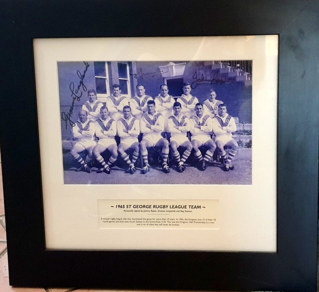 St George 1965 Premiers Photo Signed by the Immortals - Gasnier, Langlands, and Raper - Framed