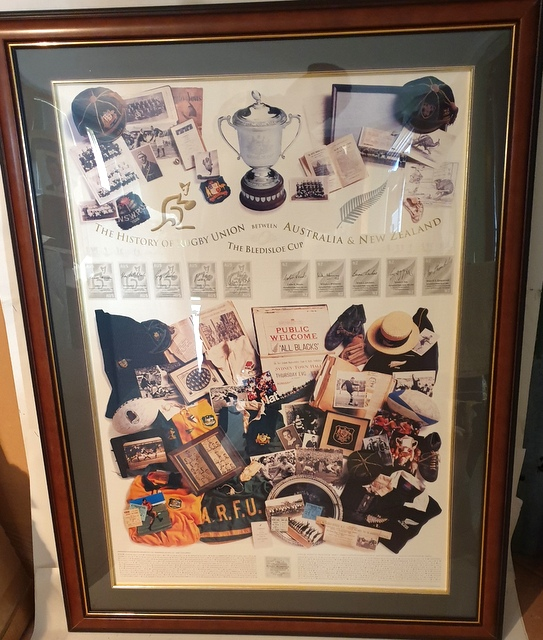 The History of the Bledisloe Cup Personally Signed by 4 Wallaby and 4 All Black Legends, Framed