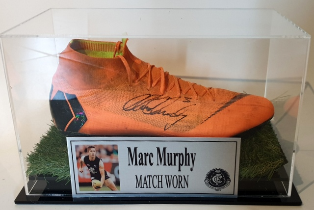Marc Murphy MATCH WORN Football Boot, Carlton Blues, Personally Signed