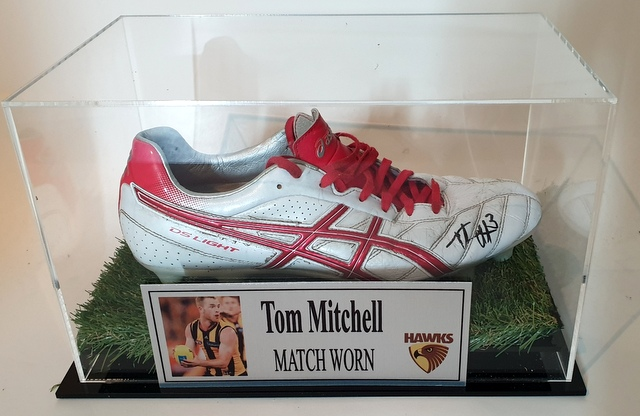 Tom Mitchell MATCH WORN Football Boot, Hawthorn Hawks, Personally Signed