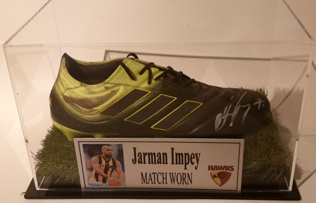 Jarman Impey MATCH WORN Football Boot, Hawthorn Hawks, Personally Signed
