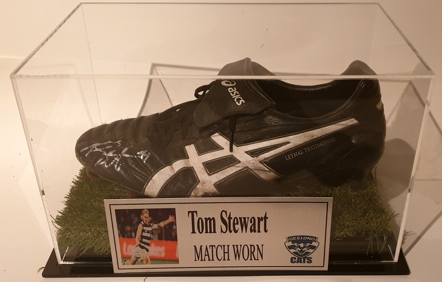 Tom Stewart MATCH WORN Football Boot, Geelong Cats, Personally Signed