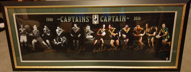 "Australian Kangaroos ""Captains' Captain"" Personally Signed by 8 Incl. Lockyer, Smith, Meninga, Fittler, Lewis"