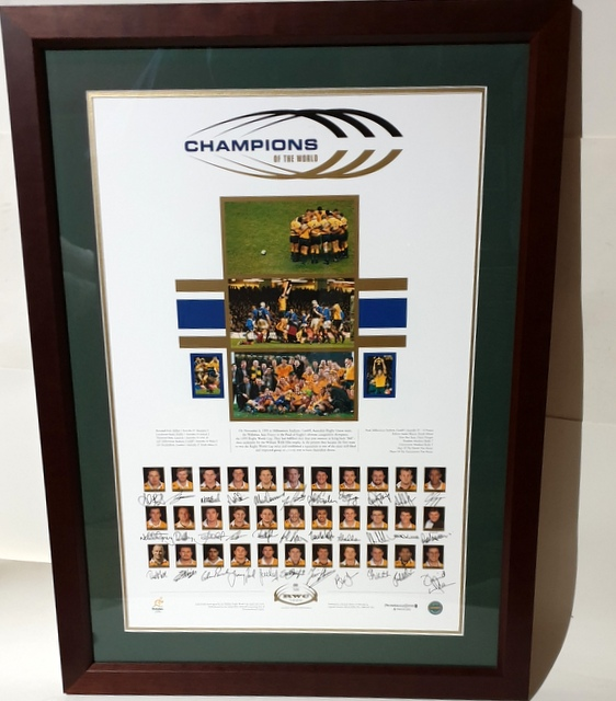 "Australian Wallabies RWC 1999 ""Champions of the World"" Squad and Coach Signed Lithograph, Framed"