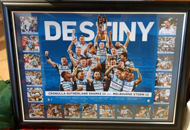 "Cronulla Sharks 2016 Premiers ""Destiny"" Print Personally Signed by Jack Bird"