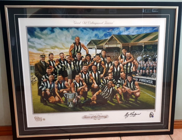 Collingwood Team of the Century, Personally Signed by Murray Weiderman, Framed