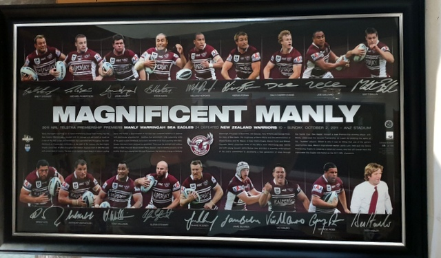 "Manly 2011 Premiers ""Magnificent Manly"" Personally Signed by 17, Framed"