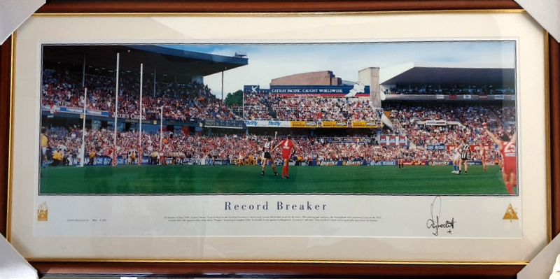 "Tony Lockett Personally Signed ""Record Breaker"", Sydney Swans - FREE DELIVERY!"