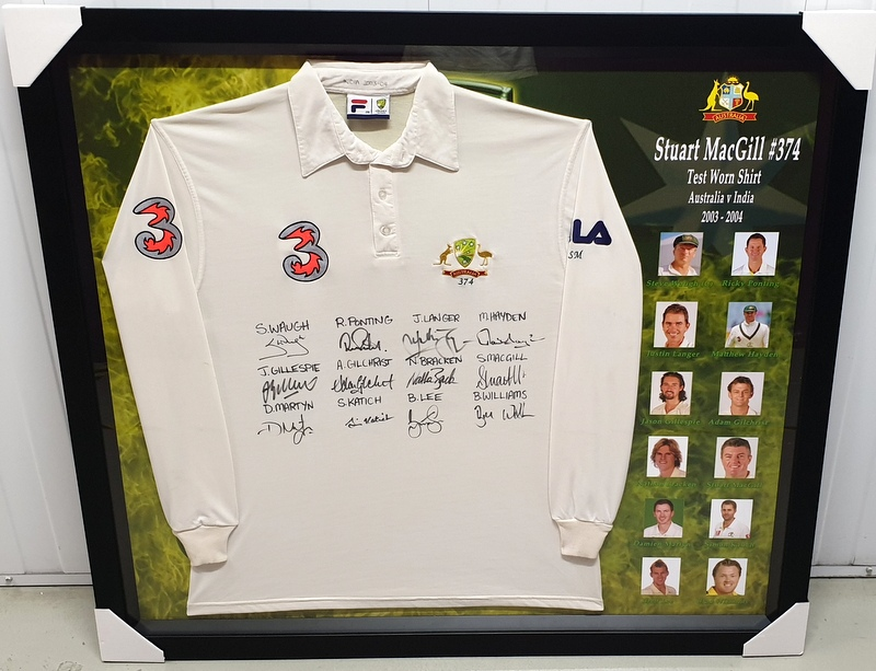 Stuart MacGill 2003-2004 v India TEST WORN Shirt, Also Team Signed!