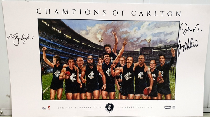 Champions of Carlton Fine Art Print Featuring 12 Legends, Personally Signed By Williams, Judd, Nicholls, Framed