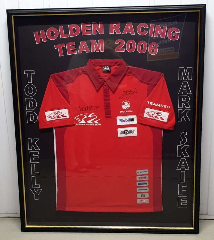 Holden Racing Team 2006 Pit Crew Shirt Personally Signed by Mark Skaife and Todd Kelly, Framed