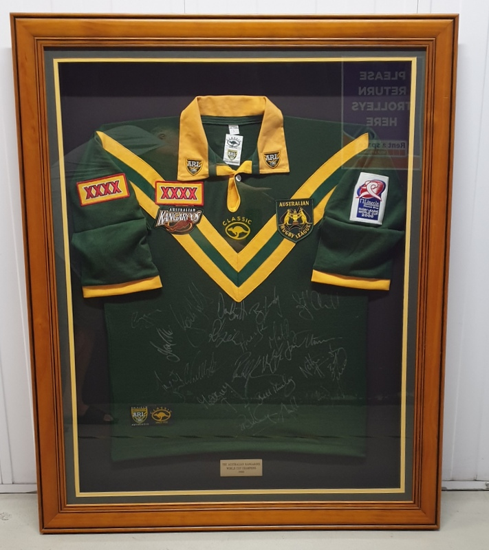 Australian Kangaroos Rugby League World Cup Champions 2000 Team Signed Jersey, Framed