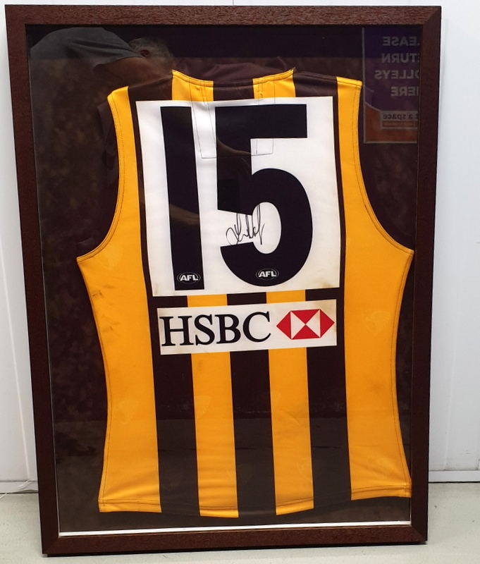 Luke Hodge Hawthorn Hawks MATCH WORN v Geelong 2010 Personally Signed Jersey, Framed
