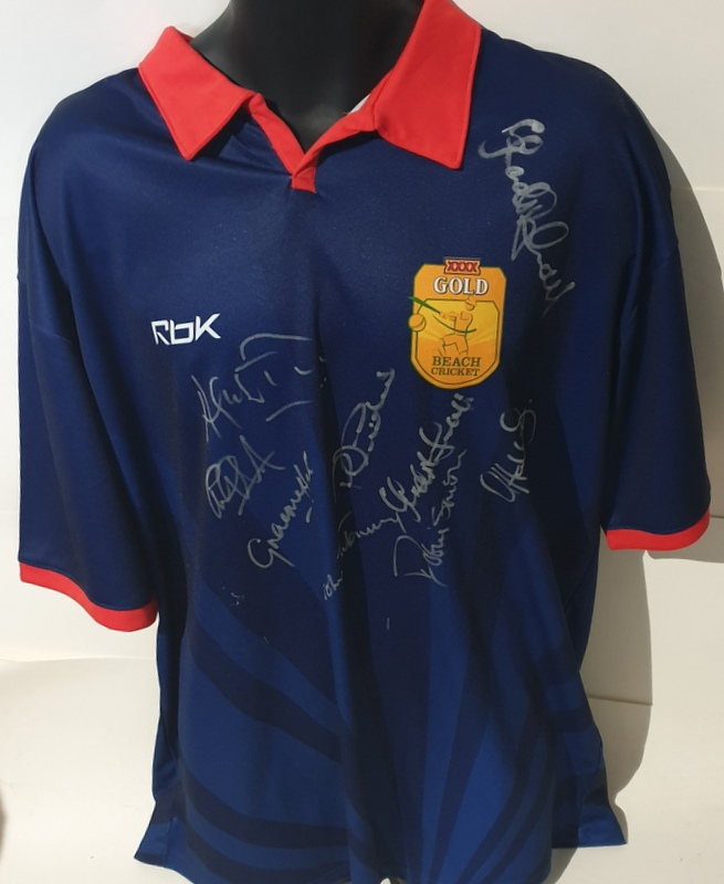 England Beach Cricket Shirt Personally Signed by Legends - Smith, Hick, Defreitas