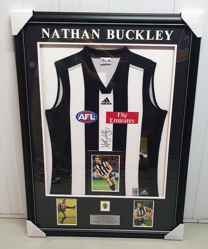 Nathan Buckley Personally Signed Collingwood Magpies Career Tribute Jersey, Framed
