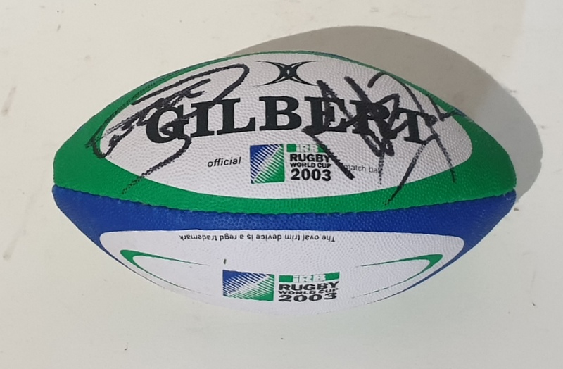 England 2003 RWC Champions Mini Rugby Ball Personally Signed by Martin Johnson and Clive Wooodward