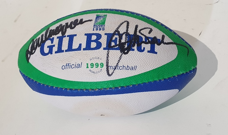 Australian Wallabies 1999 RWC Champions Mini Ball Signed by Rod MacQueen and John Eales