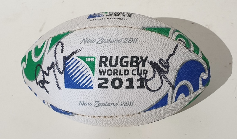 New Zealand All Blacks 2011 RWC Champions Mini Ball Signed by Richie McCaw and Graham Henry