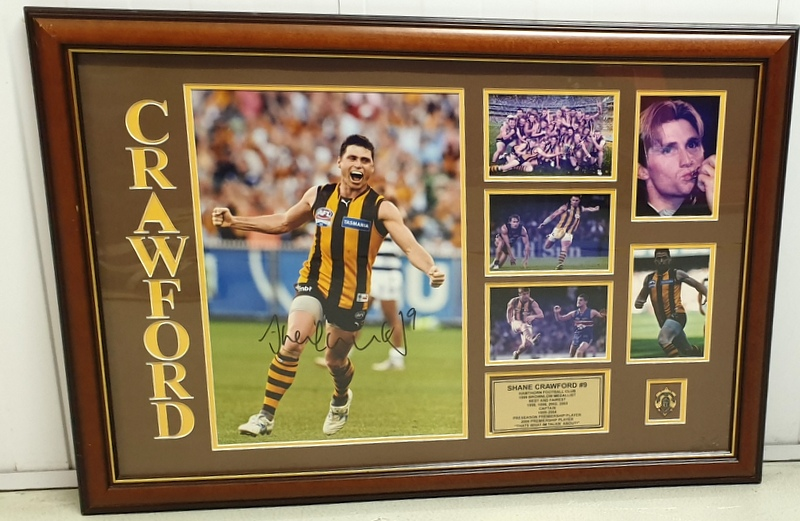 Shane Crawford Hawthorn Hawks Personally Signed Career Tribute, Framed