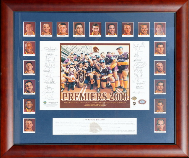 Brisbane Broncos 2000 Premiers Team Signed Tribute, Framed - Lockyer, Walters, Tallis