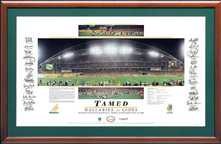 'Tamed' Signed Wallabies vs Lions 2001 Lithograph - HALF PRICE