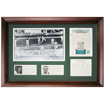 Richie Benaud & Wes Hall signed 'Tied Test', Framed