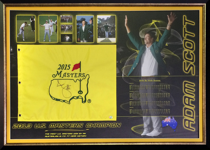 Adam Scott '2013 US Masters Champion' Signed Pin Flag, Framed