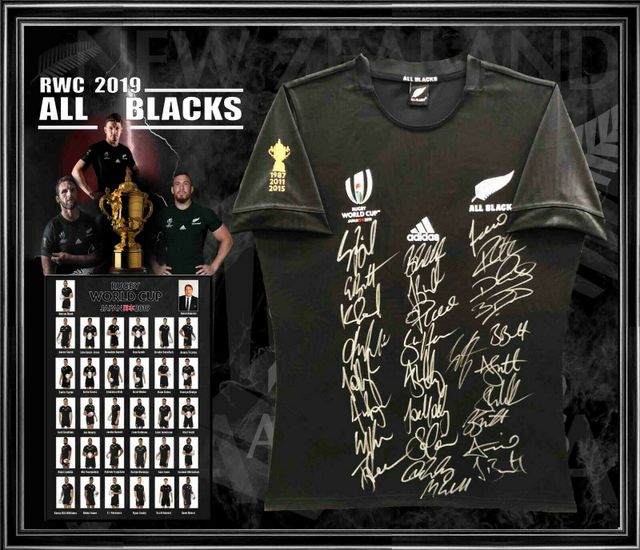 New Zealand All Blacks 2019 Rugby World Cup Team Signed Jersey - Whitelock, Retallic, Barrett