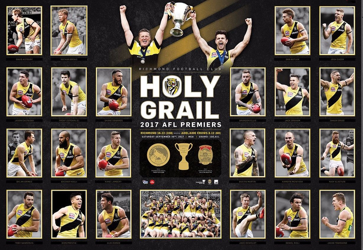 "Richmond 2017 Premiers ""Holy Grail"" Deluxe Sportsprint, Framed"