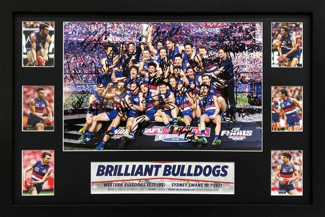 Western Bulldogs 2016 Premiers Team Signed Celebration Lithograph, Framed