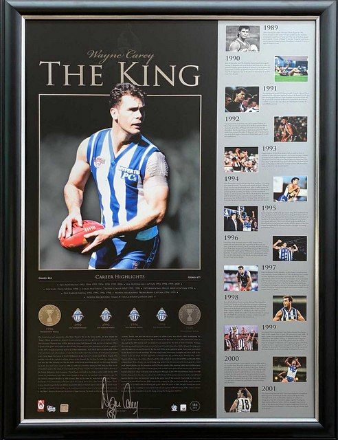 "Wayne Carey ""The King"" Personally Signed Lithograph, Framed, North Melbourne Kangaroos"