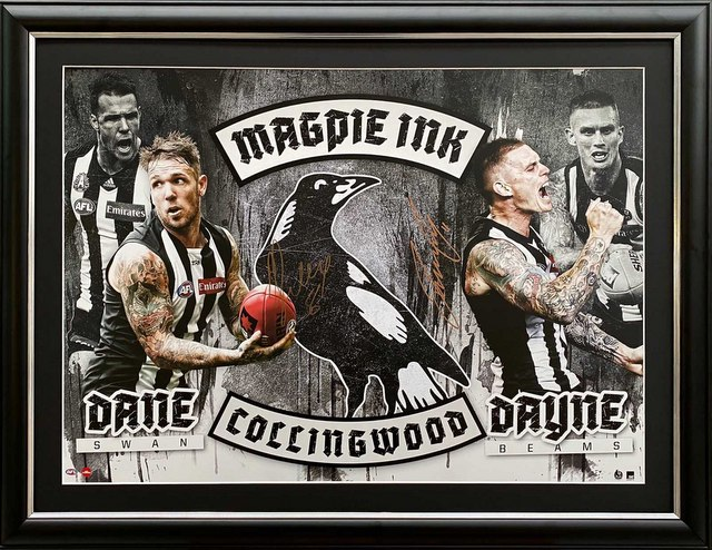 "Collingwood ""Magpie Ink"" Personally Signed by Dane Swan and Dayne Beams, Framed"
