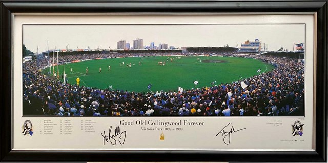 """Good Old Collingwood Forever"", Victoria Park Celebration, Personally Signed by Nathan Buckley and Tony Shaw, Framed"