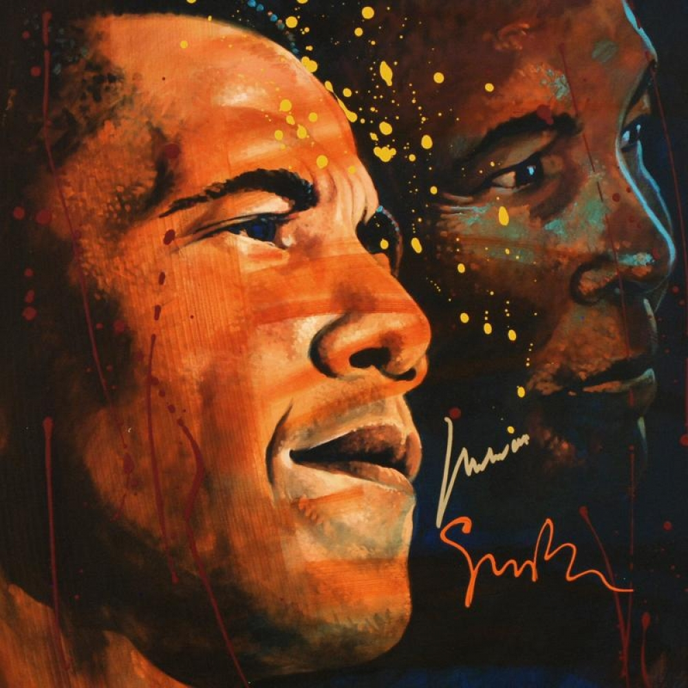 "Muhammad Ali Signed ""Looking to the Future"" ORIGINAL One-Of-A-Kind 76cm x 76cm Mixed Media on Canvas by Simon Bull"