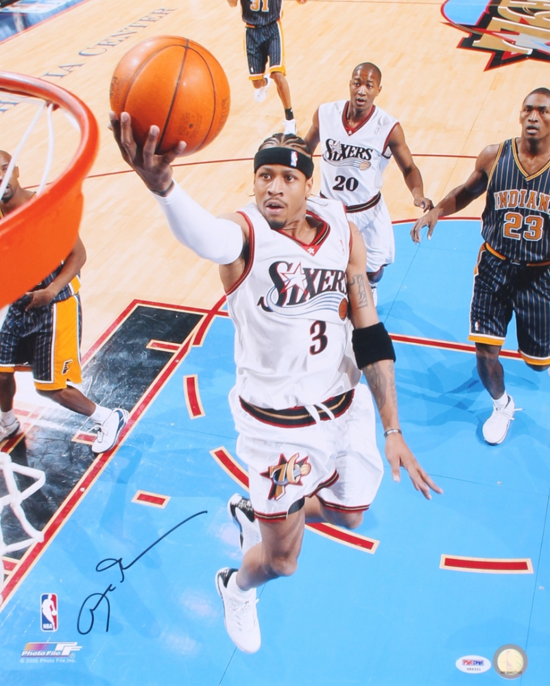 Allen Iverson Personally Signed 76ers Action Photo