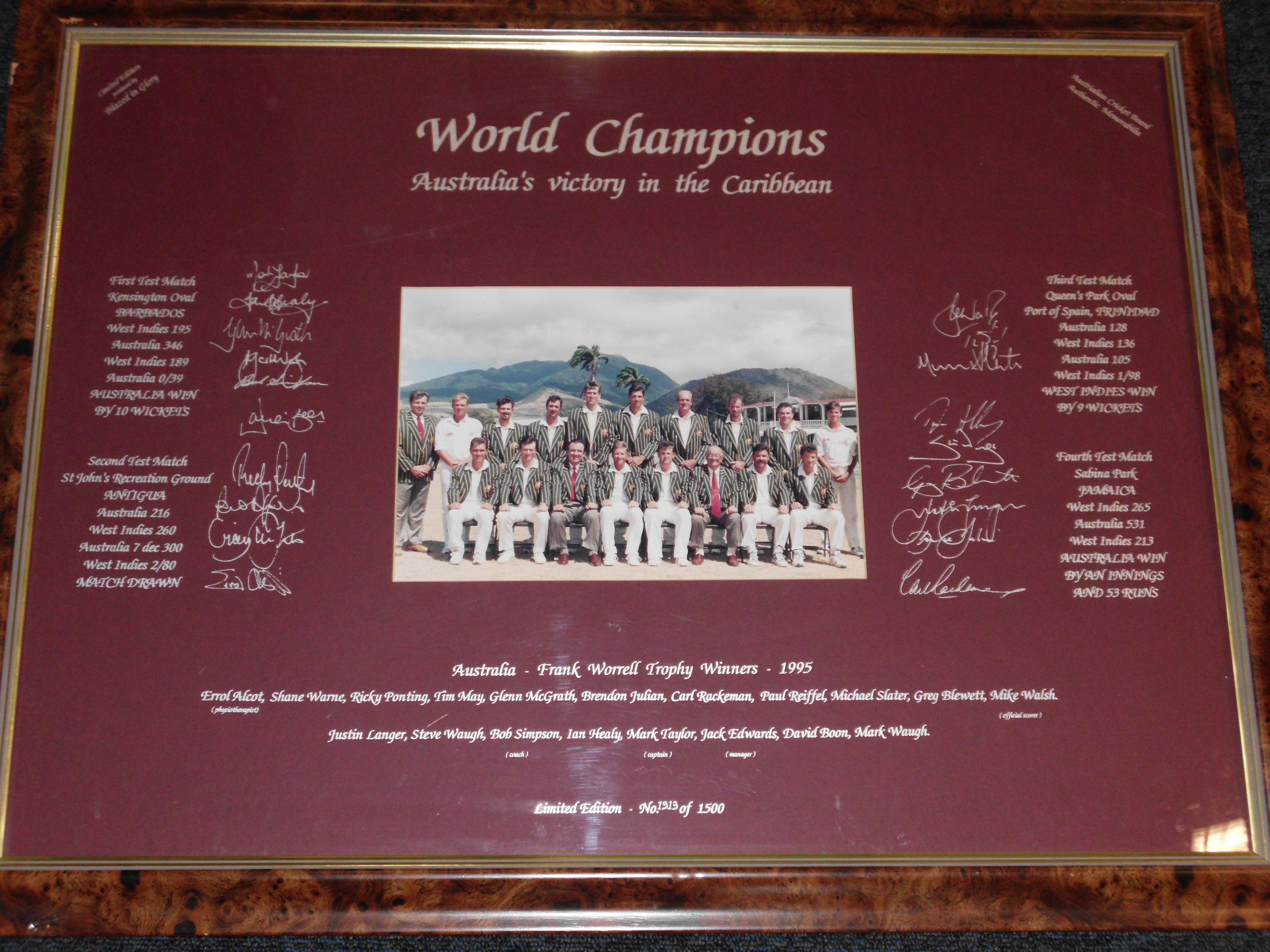 'World Champions' Australia's Victory in the Carribbean - Team Signed Lithograph, Framed