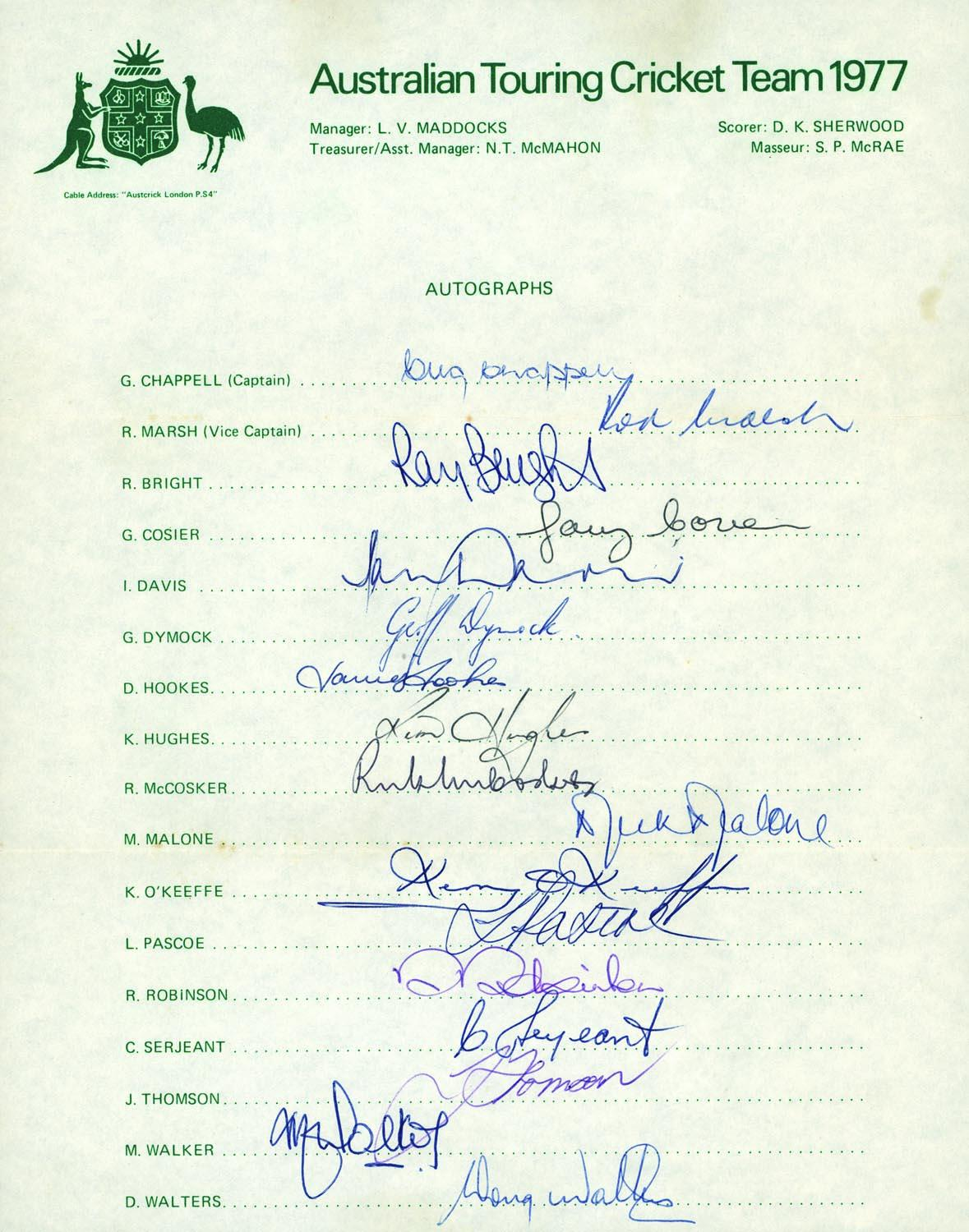 Australian Test Team Hand-Signed 1977 Tour Sheet - Max Walker, Chappell, Marsh, Hookes