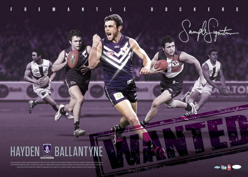 Hayden Ballantyne Fremantle Dockers 100 Game Personally Signed Lithograph, Framed