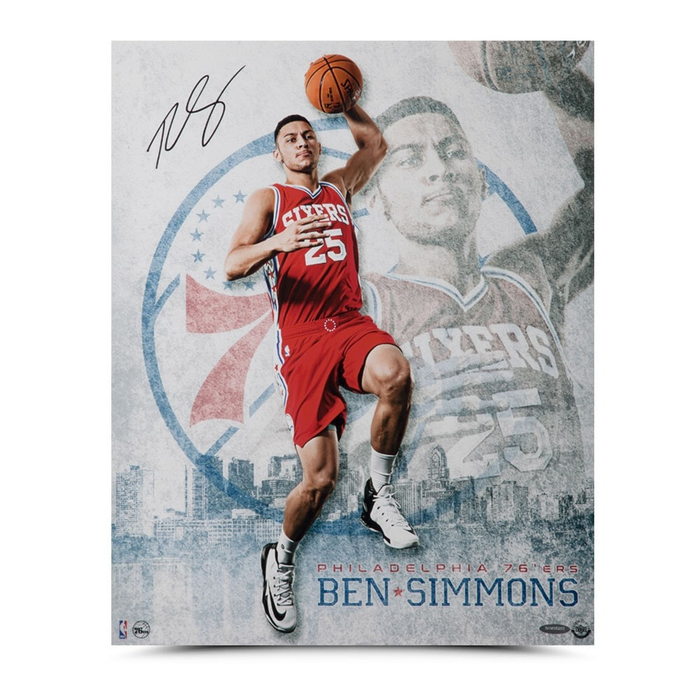 "Ben Simmons Personally Signed 76ers ""All Systems Go"" Mega Photo (UDA COA)"